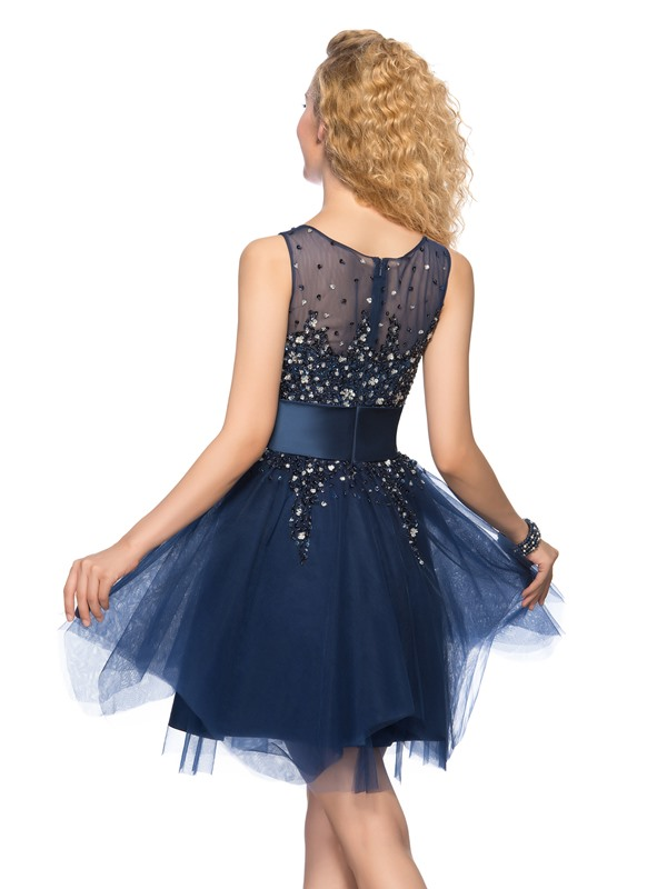 Tulle Neck Beading Sequins A-Line Cocktail Dress