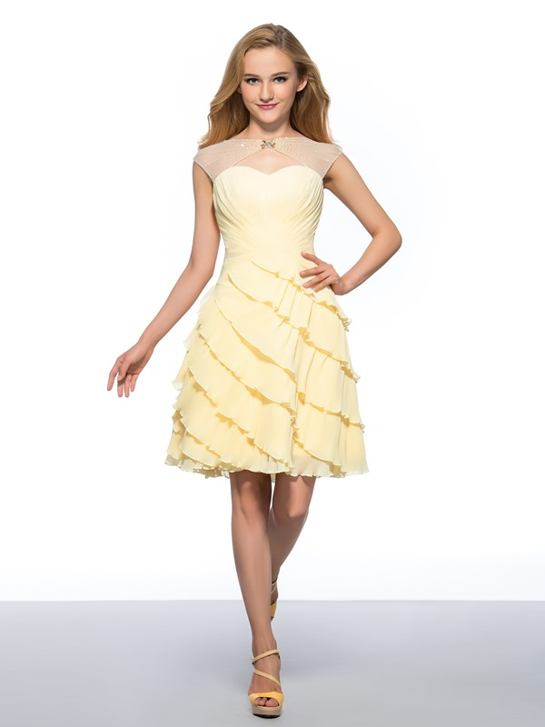 Beaded Bateau Tiered Pleats Cap Sleeves Short Homecoming Dress