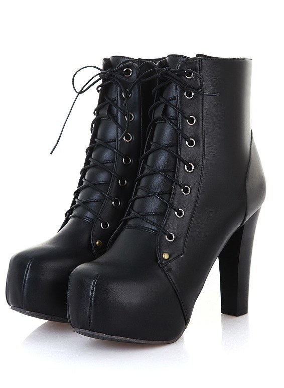 Multi Color Lace-up Chunky Heels PU Short Boots