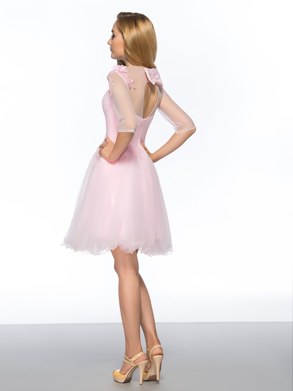 A-Line Bowknot Beading Homecoming Dress