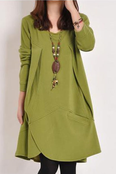 Plain Loose Long Sleeve Plus Size Dress