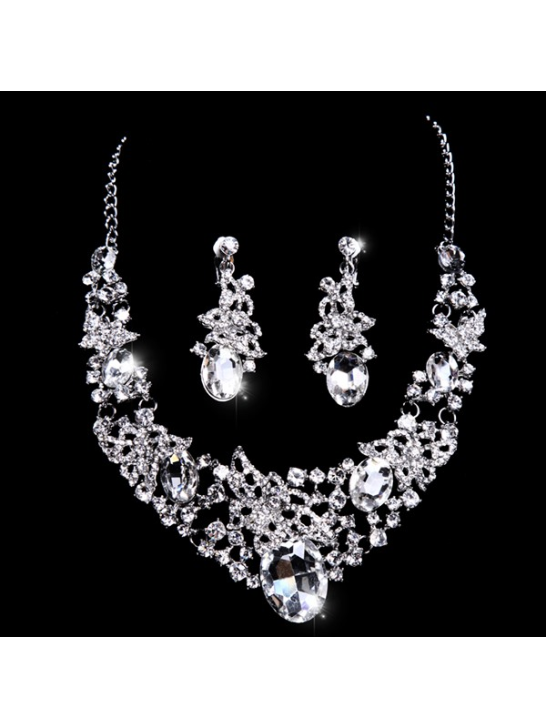 Flowers Big Rhinestone Wedding Jewelry Set Wedding Accessories (Including Tiara, Necklace, and Earrings)