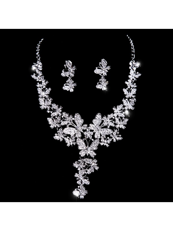 Elegant Butterfly Rhinestone Wedding Jewelry Set(Include Tiara Necklace and Earring )