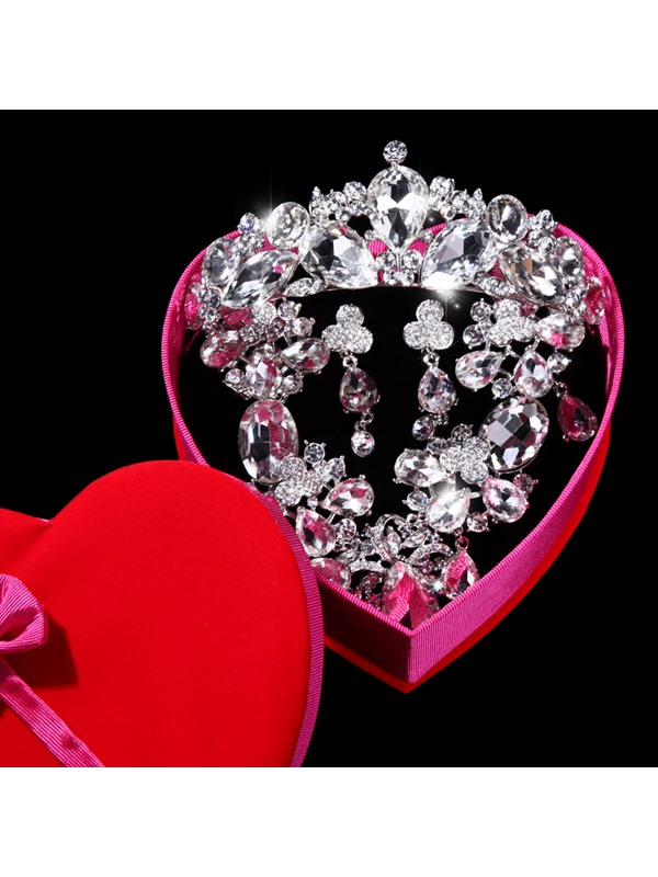 Preety Magnificent Rhinestone With Diamante Wedding Jewelry Set(Include Tiara Necklace and Earring )
