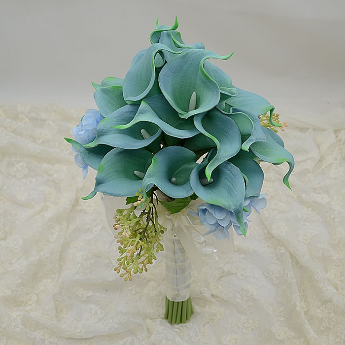Delicate Green PU Feel Calla Lily Flower Wedding Bouquet