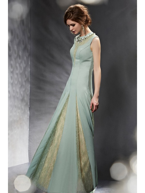 Brilliant Lace Jewel Neckline Rhinestone A-Line Long Evening Dress
