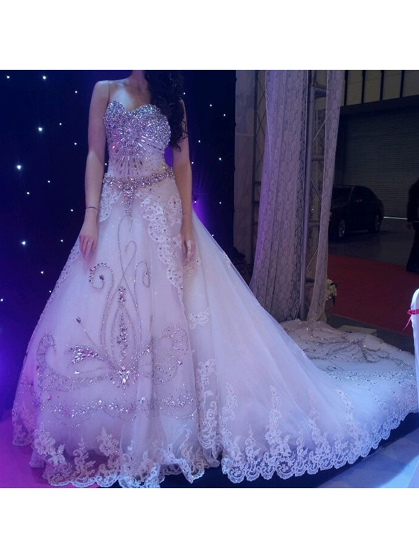 Stunning Beaded Sweetheart A-Line Cathedral Wedding Dress