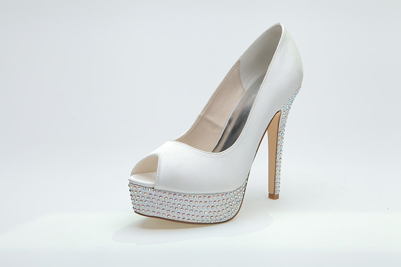 Simple Style Peep toe Stiletto Platform Rhinestone Wedding Shoes