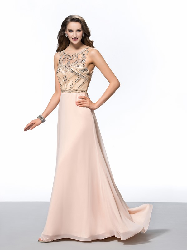 Luxurious A-Line Scoop Neck Beading Long Evening Dress
