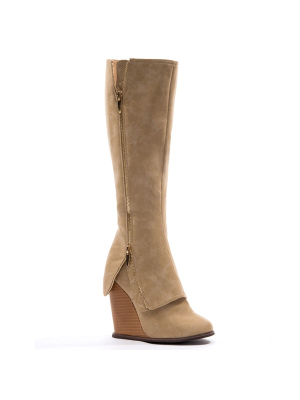 Knee-high Side  Wedge Boots