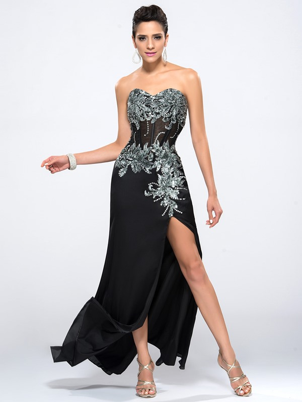 Sweetheart Split-Front Sequins Appliques Evening Dress(Free Shipping)