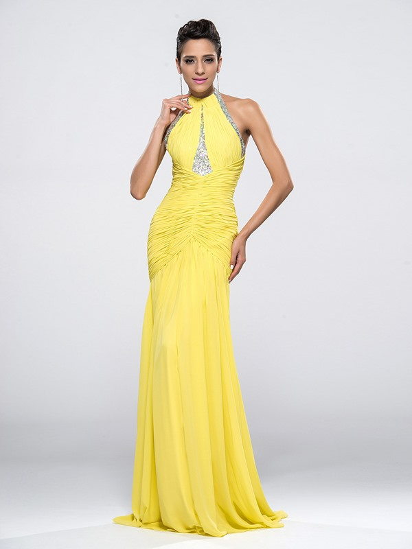 Courtlike Halter Beading Ruffles Mermaid Backless Long Evening Dress Designed