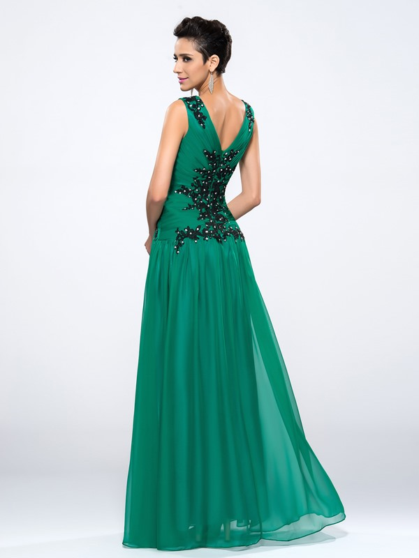 V-Neck Appliques Sequins A-Line Floor-Length Evening Dress