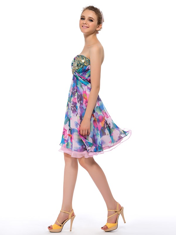 Classy Floral Printing Sequins Sweetheart A-Line Short Homecoming Dress