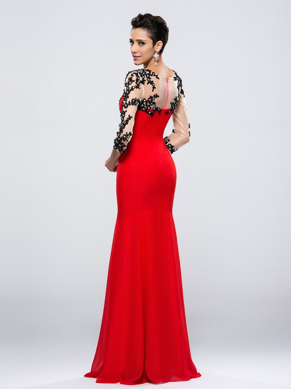 Mermaid Appliques Split-Front Long Evening Dress