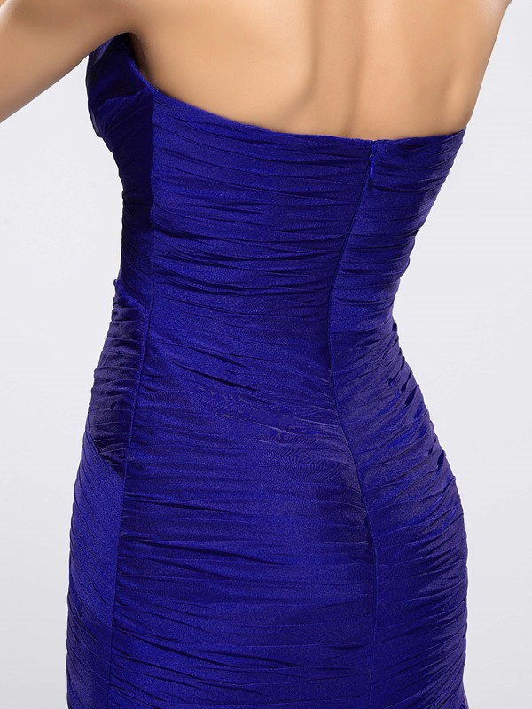 Ruched Strapless Split-Front Sheath Evening Dress