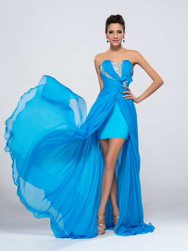 Dazzling Beaded Split-Front Long Prom Dress Designed