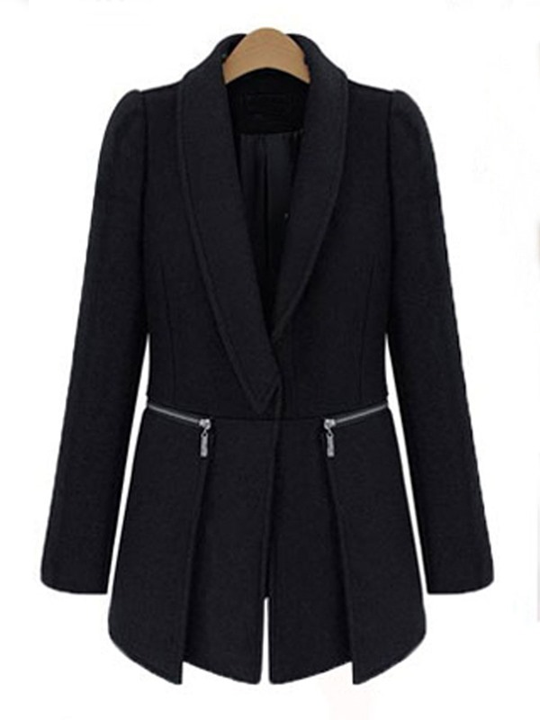 New Black Stand Collar Mid-Pattern Plus Size Trench Coat