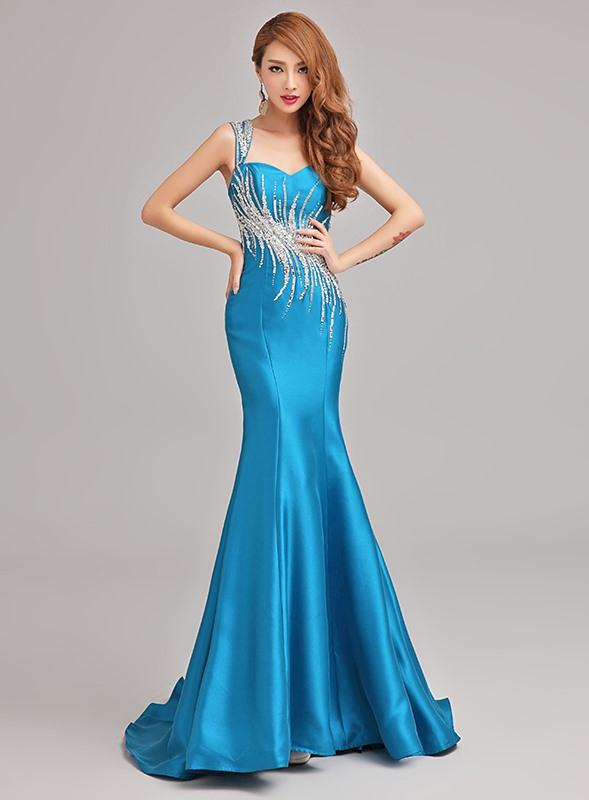 One-Shoulder Mermaid Beading Floor-Length Sweep Train Evening Dress