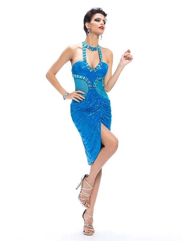 Sensual Column Sequins Beading Halter Knee-Length Cocktail Dress