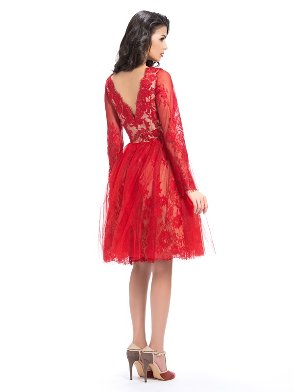Vintage Bateau Lace Long Sleeves Knee-Length Red Cocktail Dress