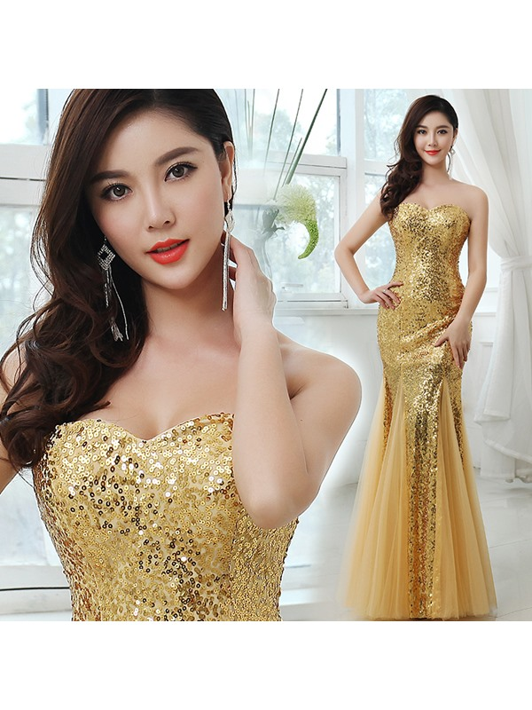 Shining Trumpet Sweetheart Sequins Zipper-up Long Prom Dress