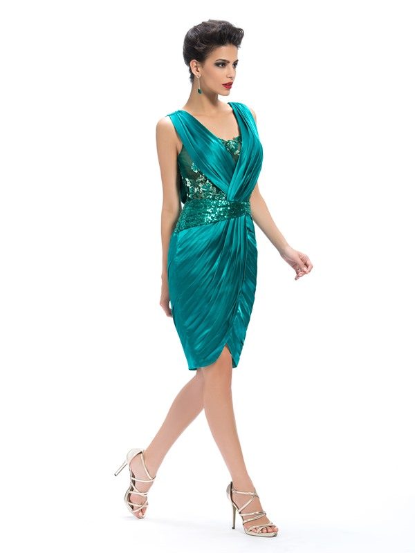 Sheath V-Neck Appliques Ruched Knee-Length Formal Dress(Free Shipping)