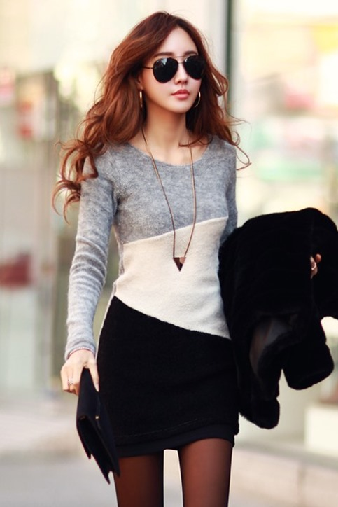 Contrast Color Long Sleeve Women's Sheath Dress