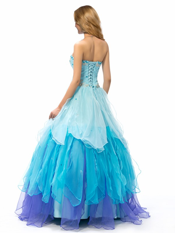 Beaded Sweetheart Tiered Lace-up Long Quinceanera Dress