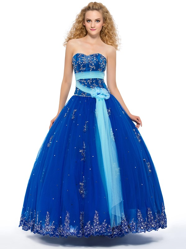 Sweetheart Beaded Appliques Quinceanera Dress