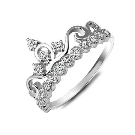 Crown with Rhinestone 925 Sterling Silver Women's Ring