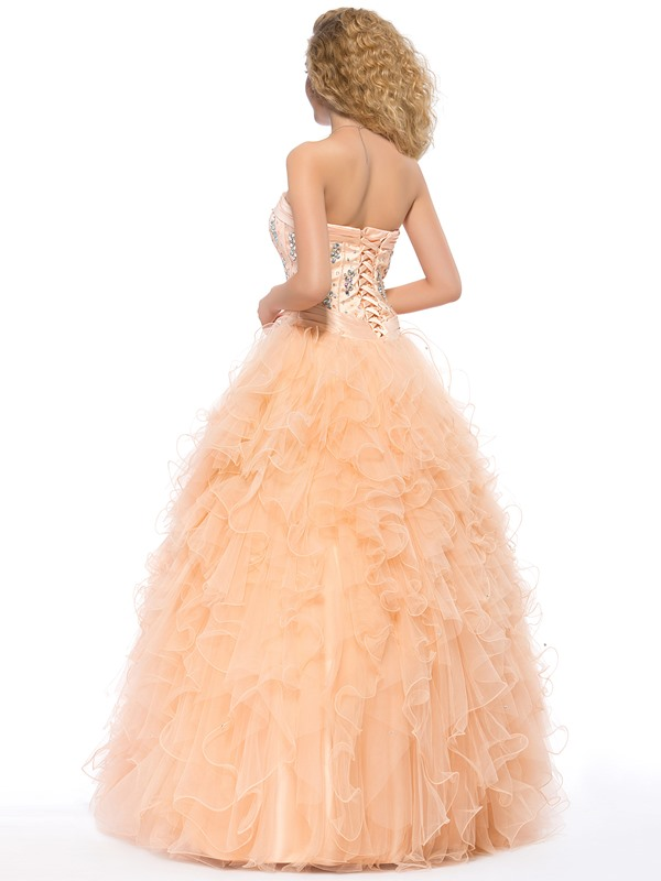 Eye-catching Sweetheart Beading Cascading Ruffles Lace-up Long Quinceanera Dress