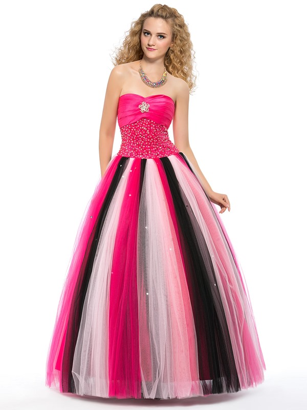 High Class Colourful Sweetheart Crystal Beading Floor-Length Lace-up Quinceanera Dress