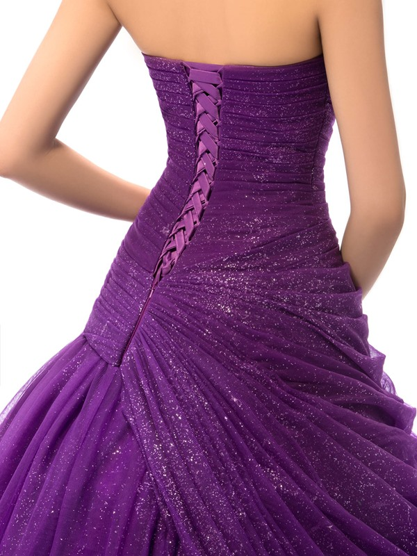 Dramatic Sweetheart Ball Gown Appliques Beading Draped Lace-up Quinceanera Dress