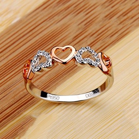 NSCD Heart Shaped 950 Pt Silver Ring
