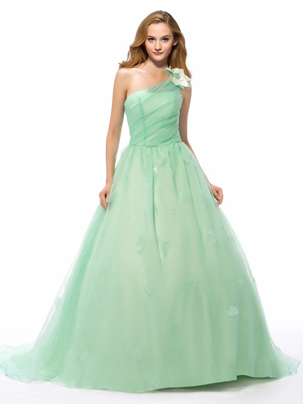 Simple Style One-Shoulder A-Line Flower Chapel Train Long Quinceanera Dress