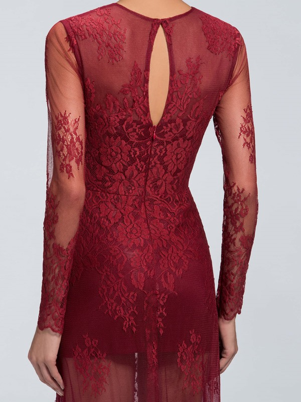Sensual Lace Jewel Neckline Trumpet Long Sleeves Long Evening Dress Designed