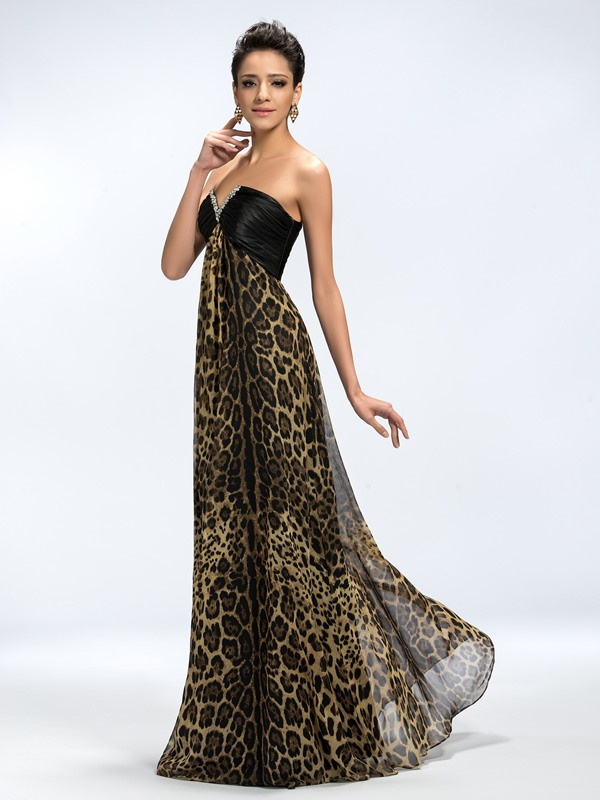 Chic A-Line V-Neck Sequins Beading Ruched Leopard Print Long Evening Dress