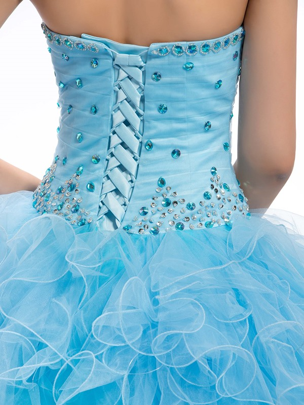Ruffles Sweetheart Beaded Cascading Quinceanera Dress