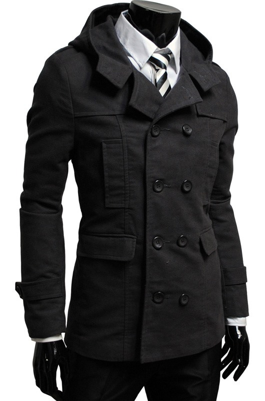Brown Lapel Double-Breasted Overcoat