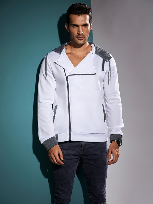 Diagonal Zipper Solid Color Mosiac Slim Men's Hoodie
