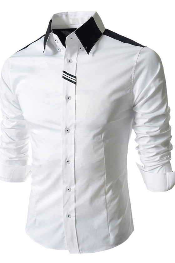 Solid Color Lapel Single-Breasted Shirt