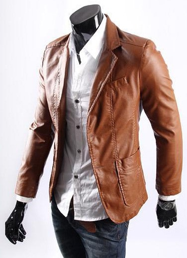 Solid Color PU Lapel Single-Breasted Jacket