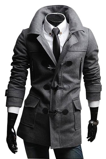 Horn Button Double-Breasted Men's Top Coat