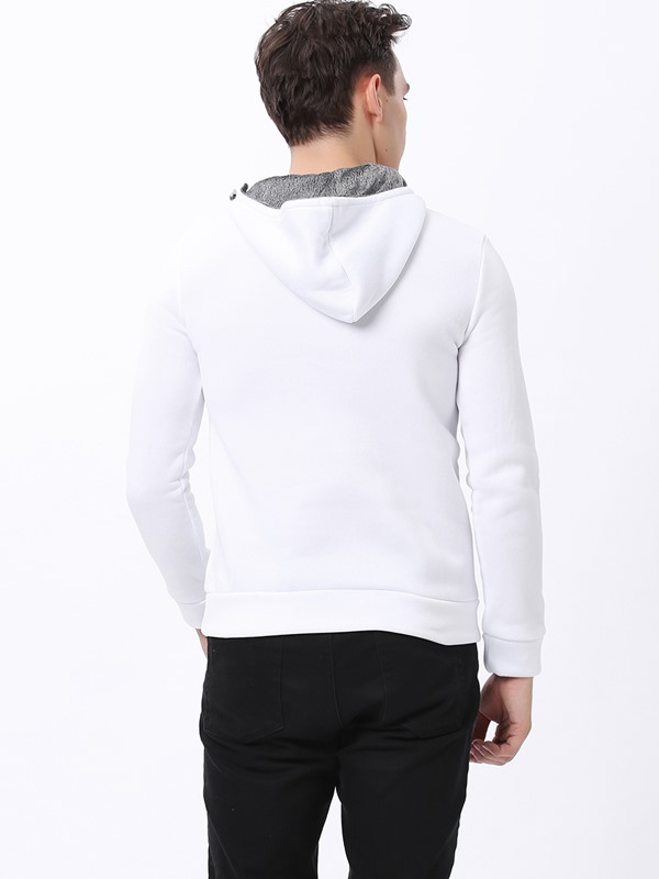 White Stand Collar Long Sleeve Hoodie