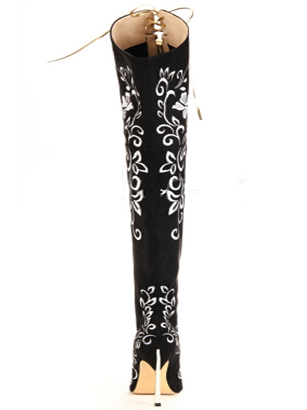 Black Print Point Toe Lace-Up Stiletto Heel Long Boots