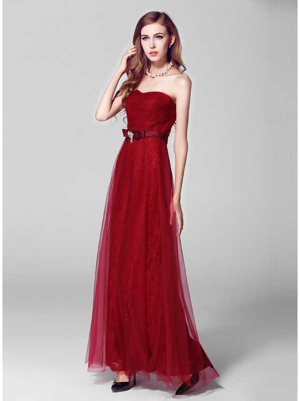 Lastest Sweetheart Crystal Lace Tulle A-Line Long Evening Dress