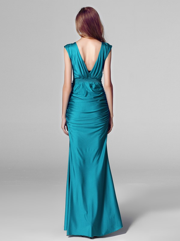 Deep V-Neck Beading Floor Length Evening Dress