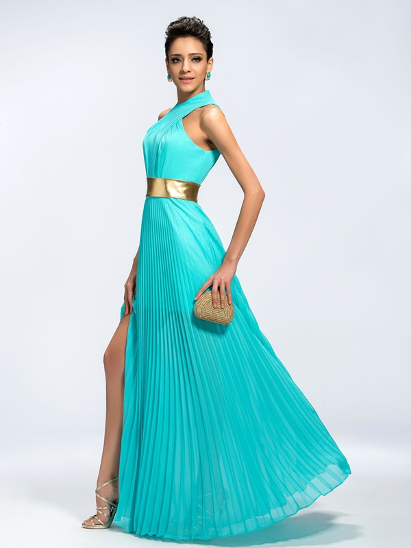 Trendy A-Line Halter Split-Front Long Evening Dress(Free Shipping)