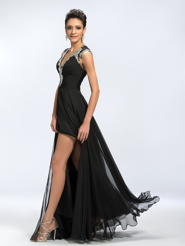 Backless V-Neck Beading Split-Front Zipper-up Long Evening Dress(Free Shipping)